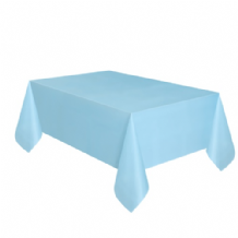 Powder Blue Table Cloth - Plastic 9ft Tablecover 1pc